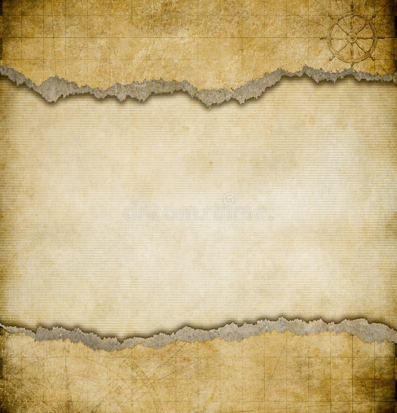 Fundo de papel rasgado Grunge do mapa do vintage imagem de stock