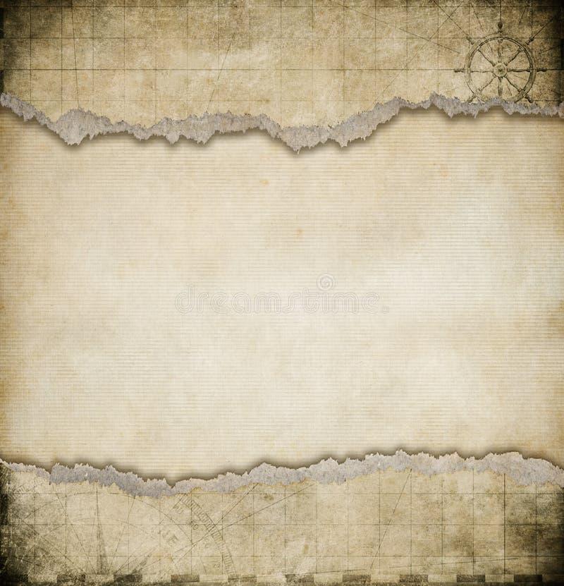 Fundo de papel rasgado velho do mapa do vintage fotos de stock