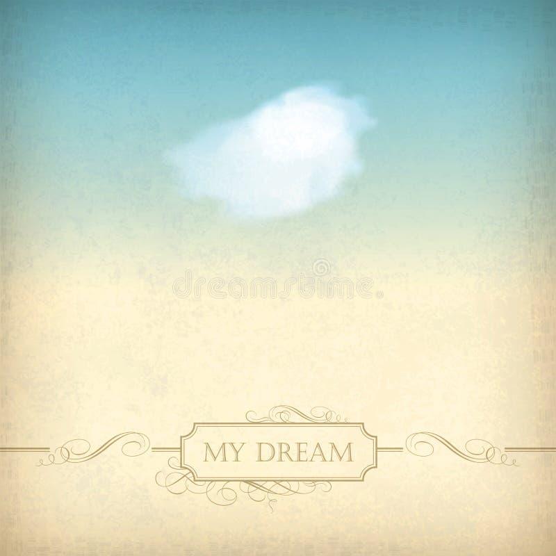 Fundo de papel velho do céu do vintage com nuvem, quadro ilustração do vetor