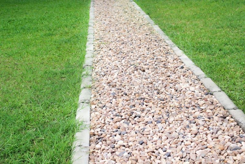 Fundo de pedra da passagem com grama verde, testes padrões exteriores da natureza imagem de stock