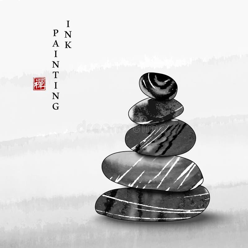 Fundo de pedra do equilíbrio do zen da ilustração da textura do vetor da arte da pintura da tinta da aquarela Tradução para a pal foto de stock royalty free