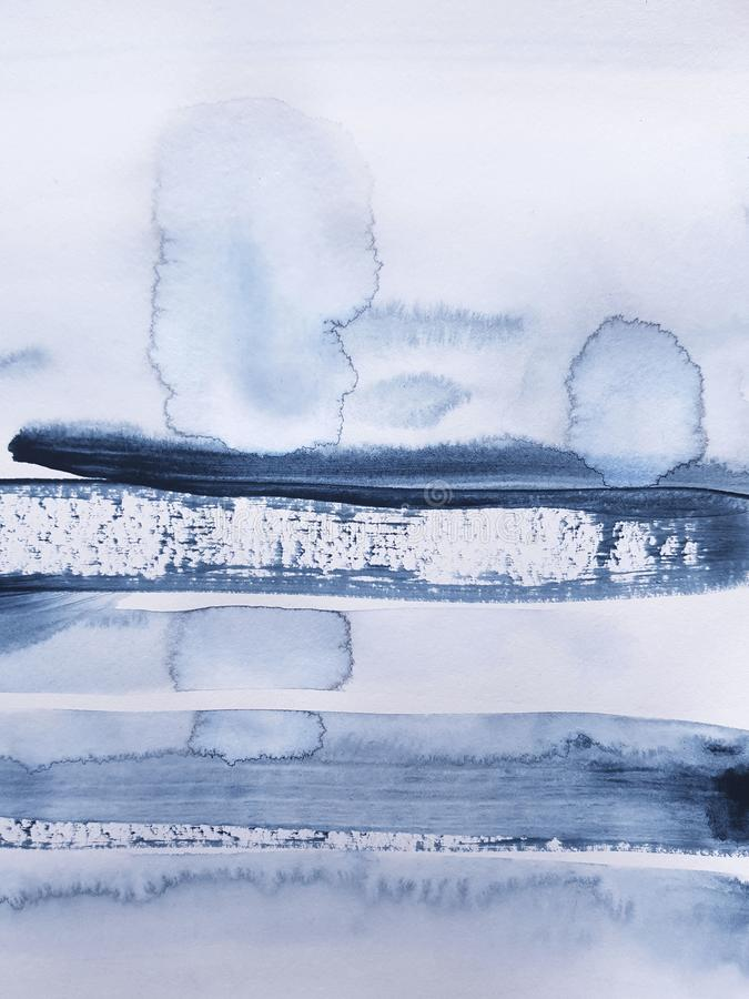 Fundo de pintura da arte azul abstrata fotografia de stock