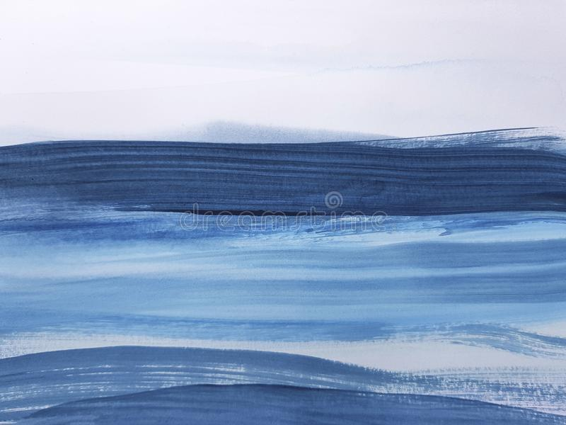 Fundo de pintura da arte azul abstrata imagem de stock