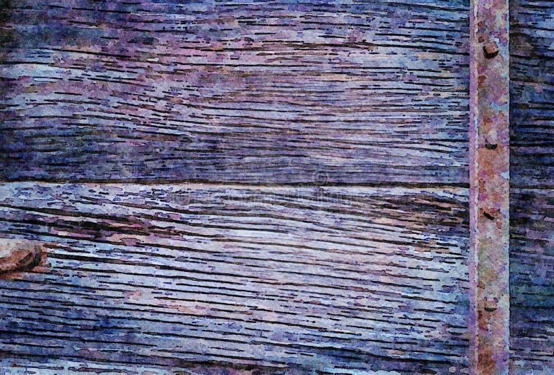 Fundo de pintura do feriado do grunge da aquarela de pranchas de madeira velhas foto de stock royalty free