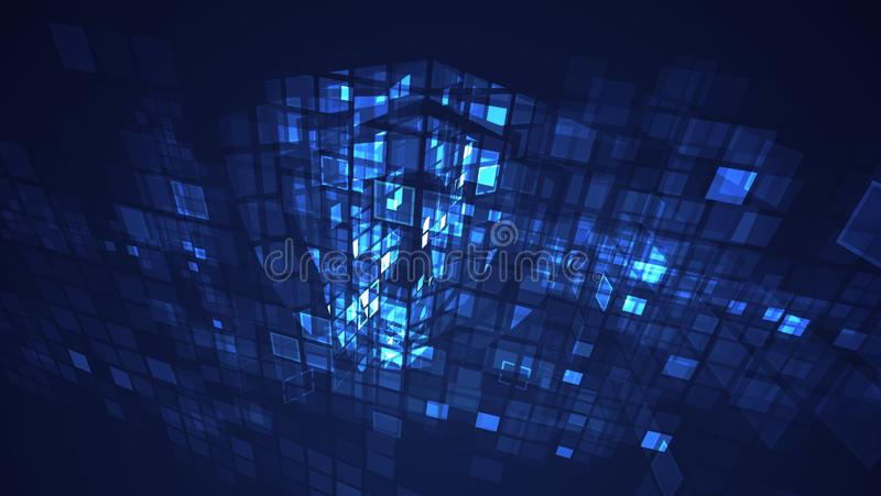 Fundo de piscamento gráfico azul da perspectiva da grade do retângulo do sumário ilustração royalty free