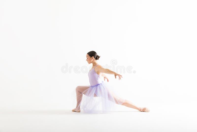 Fundo de Posing Against White do dançarino de bailado gracioso fotos de stock