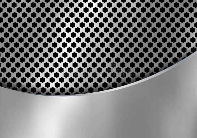 Fundo de prata abstrato do metal feito da textura do teste padr?o do hex?gono com ferro de folha da curva Preto e branco geom?tri ilustração royalty free