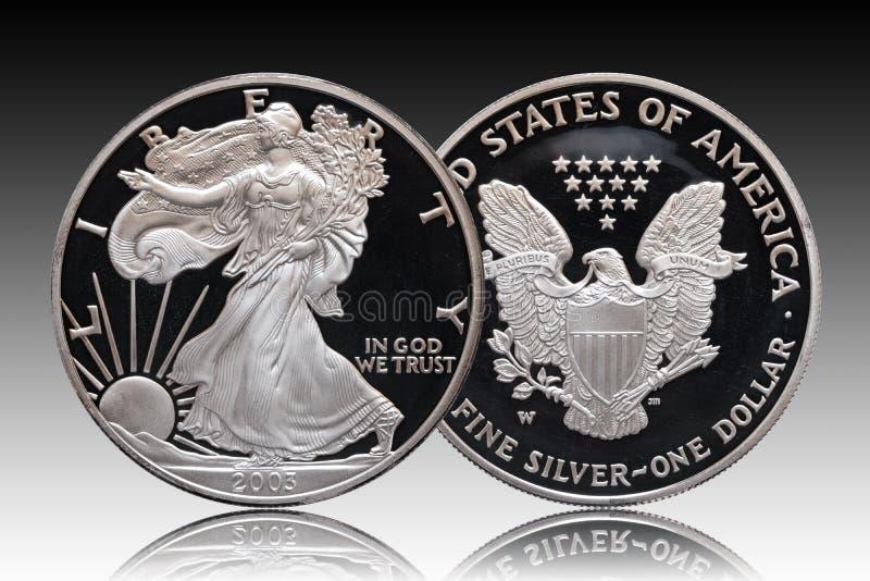 Fundo de prata americano do inclinação do dólar da águia fotografia de stock