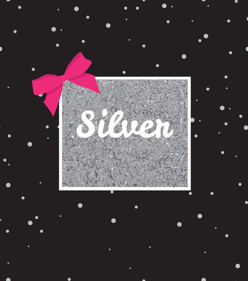 Fundo de prata com lantejoulas e curva cor-de-rosa no fundo preto ilustração stock