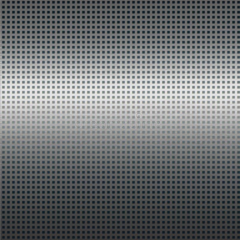 Fundo de prata da textura do metal com teste padrão de grade preto ilustração royalty free