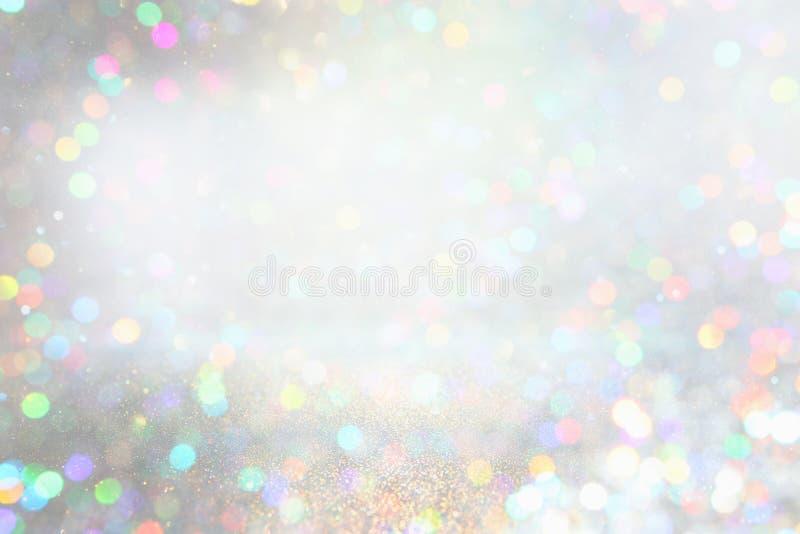 Fundo de prata das luzes do brilho de-focalizado ilustração royalty free