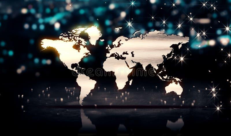 Fundo de prata de Bokeh 3D do brilho da luz da cidade do mapa do mundo ilustração do vetor