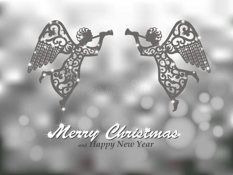 Fundo de prata do Feliz Natal com anjos ilustração do vetor