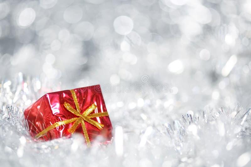 Fundo de prata do Natal fotografia de stock