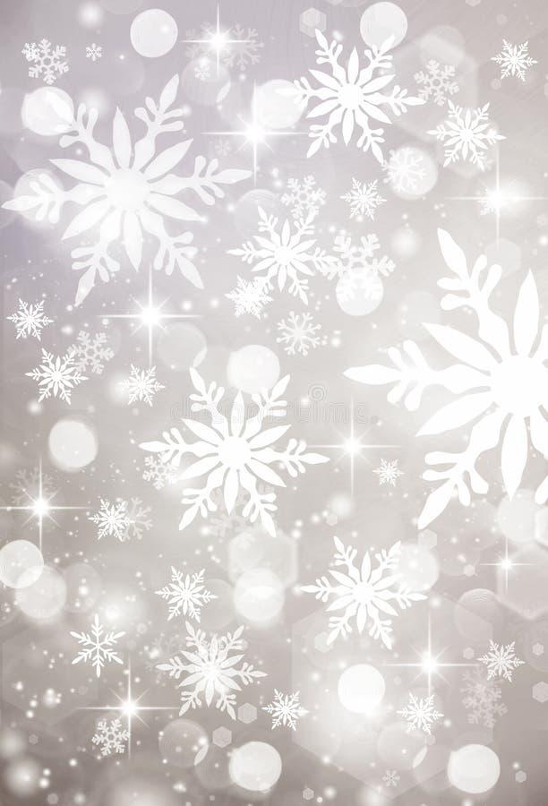 Fundo de prata do Natal, branco, cinzento, de prata, feriado, flocos de neve brancos, projeto, férias, inverno, ano novo, queda d ilustração stock