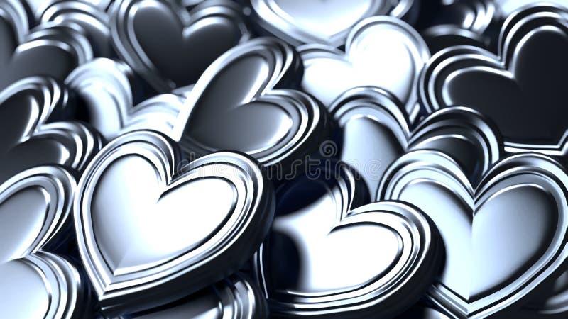 Fundo de prata dos corações ilustração do vetor