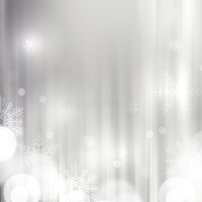 Fundo de prata elegante do Natal com flocos de neve ilustração royalty free