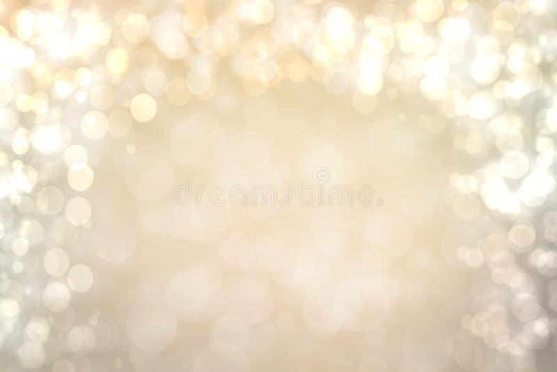 Fundo de prata marrom brilhante festivo do sumário com círculos brancos e marrons do bokeh Molde para seu projeto Textura bonita ilustração royalty free
