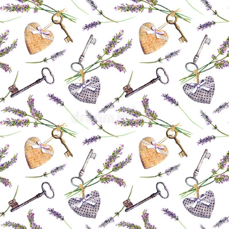 Fundo de Provencal - a alfazema floresce, chaves velhas, corações de matéria têxtil Teste padrão sem emenda, estilo rural de Prov ilustração royalty free