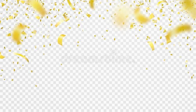 Fundo de queda da beira dos confetes Ouropel brilhante do voo do ouro para o partido ilustração royalty free