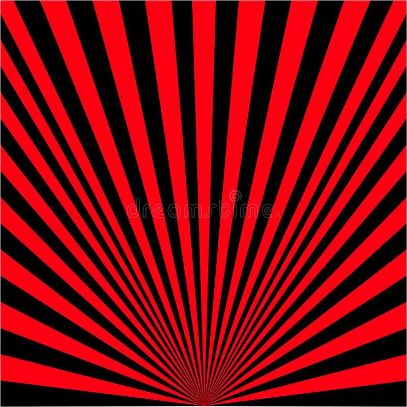 Fundo de raios pretos e vermelhos ilustração royalty free