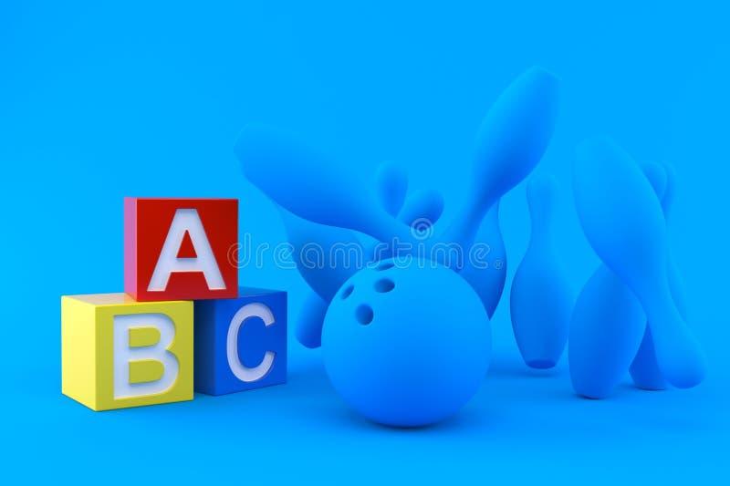 Fundo de rolamento com blocos do brinquedo ilustração royalty free