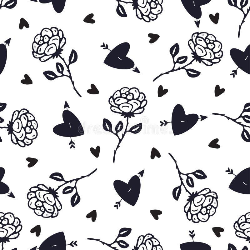 Fundo de rosas preto e branco da safra Padrão sem costura floral Flores e corações rosas para desenho têxtil ilustração stock
