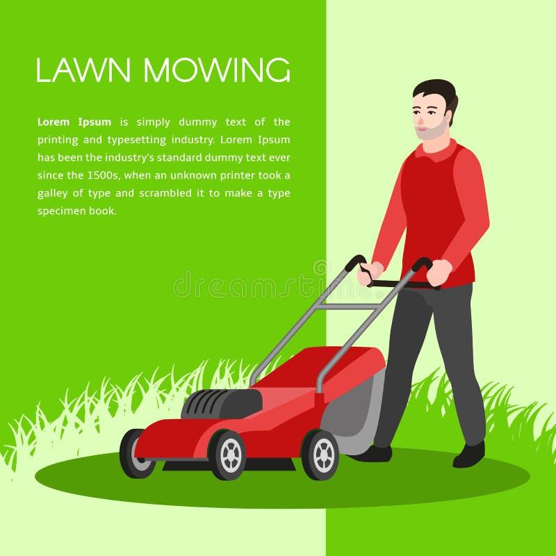 Fundo de sega do conceito do gramado, estilo liso ilustração stock