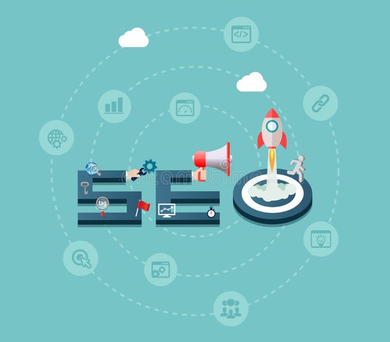 Fundo de SEO Search Engine Optimization Concept ilustração do vetor