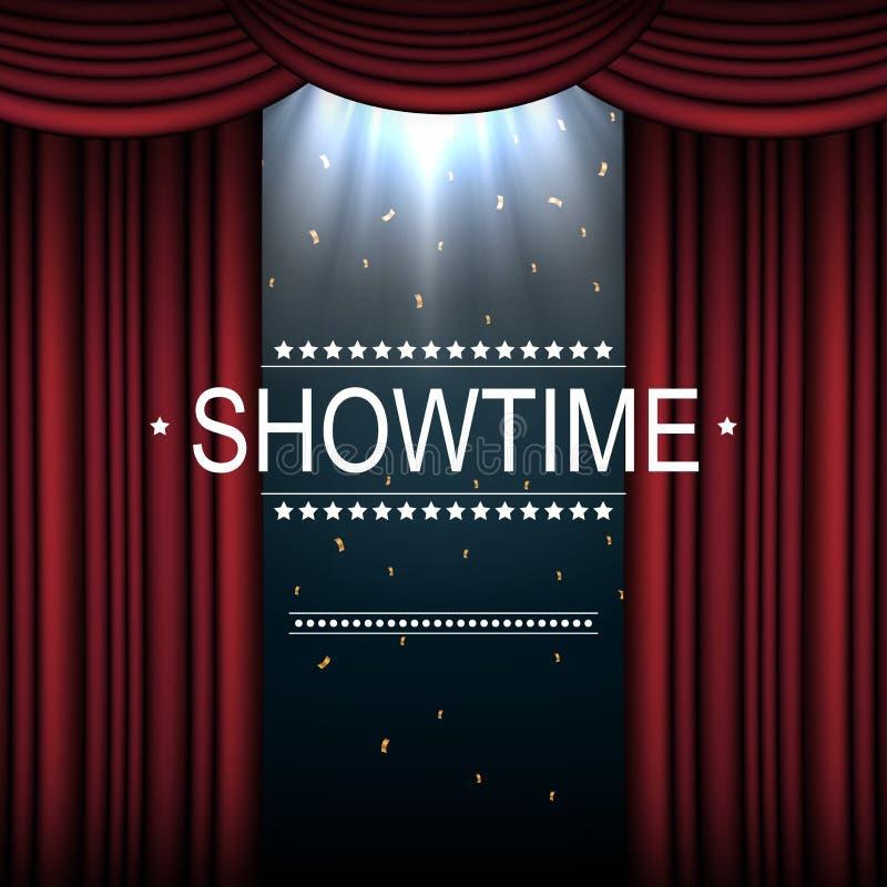 Fundo de Showtime com a cortina iluminada por projetores ilustração royalty free