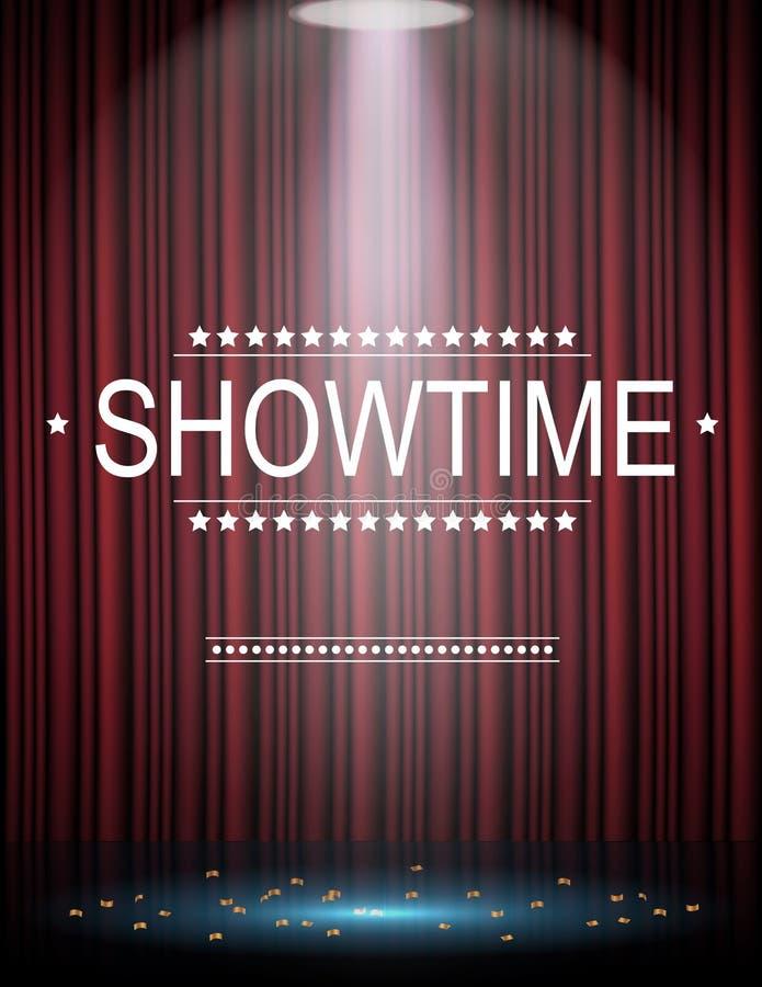 Fundo de Showtime com a cortina iluminada por projetores ilustração do vetor
