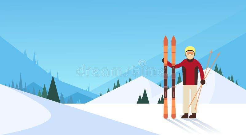 Fundo de Ski Winter Sport Snow Mountain do homem ilustração stock