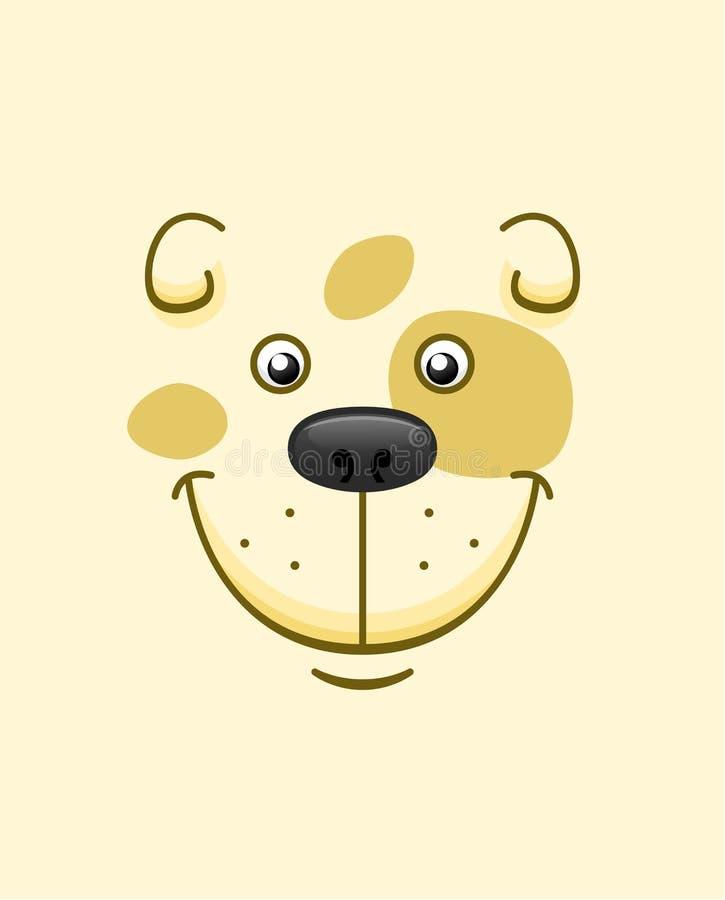 Fundo de sorriso da cara do cão dos desenhos animados ilustração stock