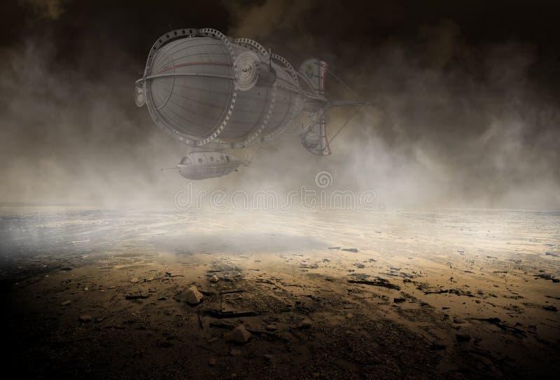 Fundo de Steampunk, deserto desolado, máquina de voo ilustração do vetor