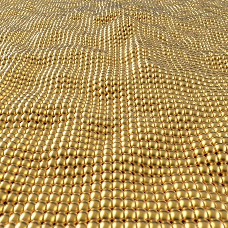 Fundo de superfície ondulado das esferas abstratas do ouro ilustração royalty free