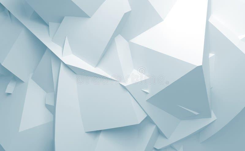 Fundo de superfície poligonal caótico azul abstrato do branco 3d ilustração stock