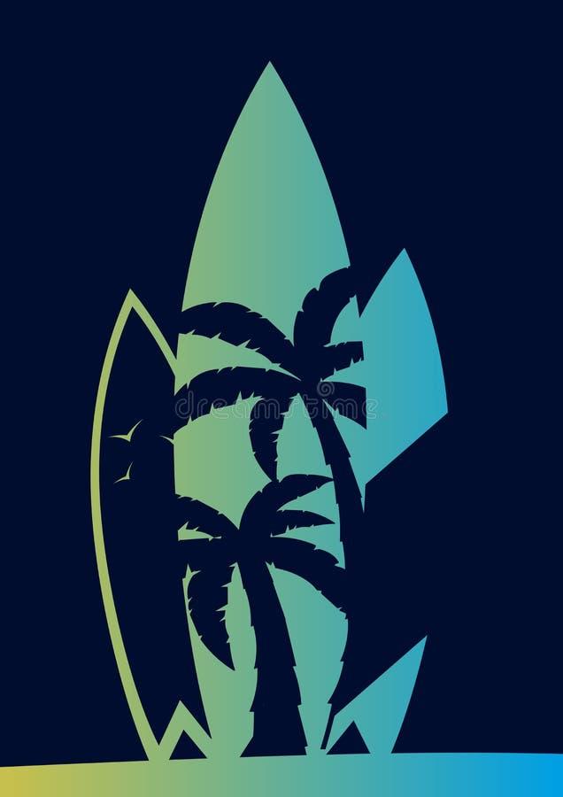 Fundo de Surfingboards T-shirt do projeto da ressaca, cópia Ilustração do vetor ilustração royalty free