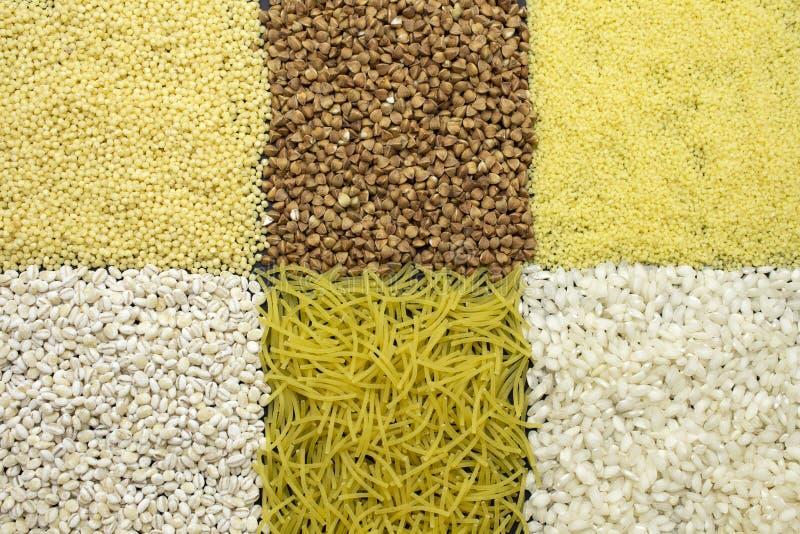 Fundo de tipos dyfferent de cereais fotografia de stock