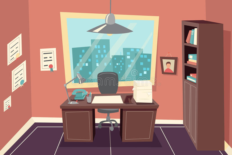 Fundo de trabalho da sala do escritório do negócio à moda ilustração do vetor