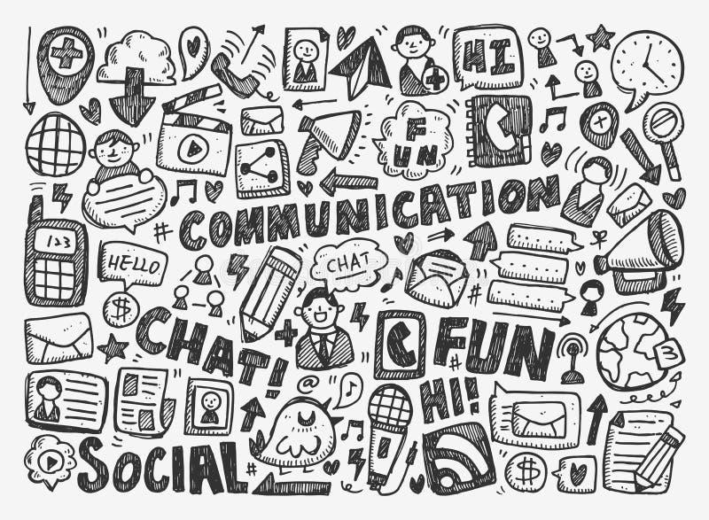Fundo de uma comunicação da garatuja ilustração do vetor