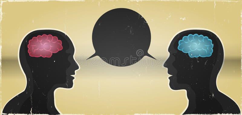 Fundo de uma comunicação do homem e da mulher do Grunge ilustração do vetor
