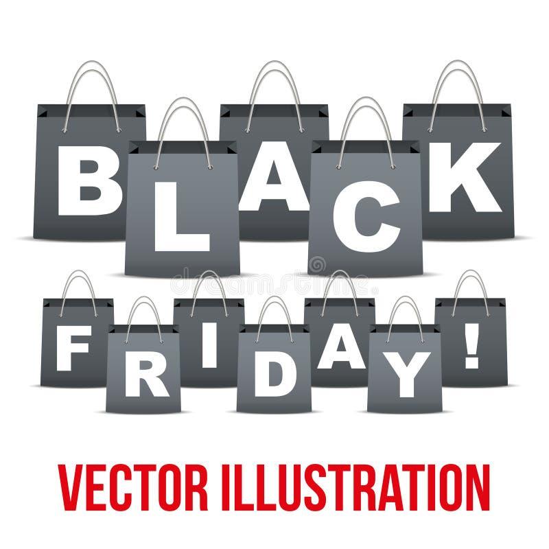 Fundo de vendas de Black Friday com letras dentro ilustração do vetor