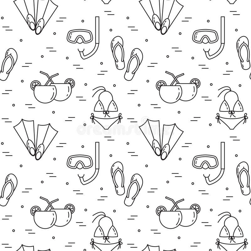 Fundo de viagem Teste padrão sem emenda com roupa de banho, aletas, cocktail, máscara de mergulho ilustração do vetor