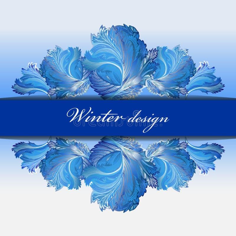Fundo de vidro congelado inverno Projeto azul da listra da beira da geada ilustração royalty free
