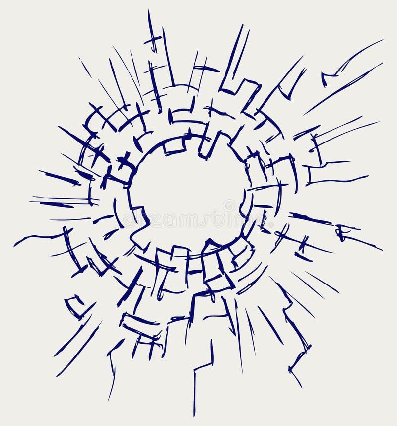 Fundo de vidro rachado ilustração do vetor