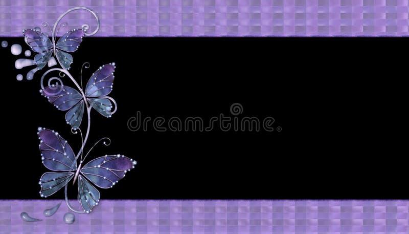 Fundo de vidro roxo das borboletas ilustração do vetor