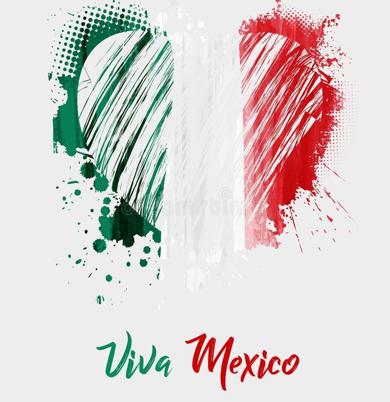 Fundo de Viva Mexico com a bandeira do coração do grunge ilustração stock