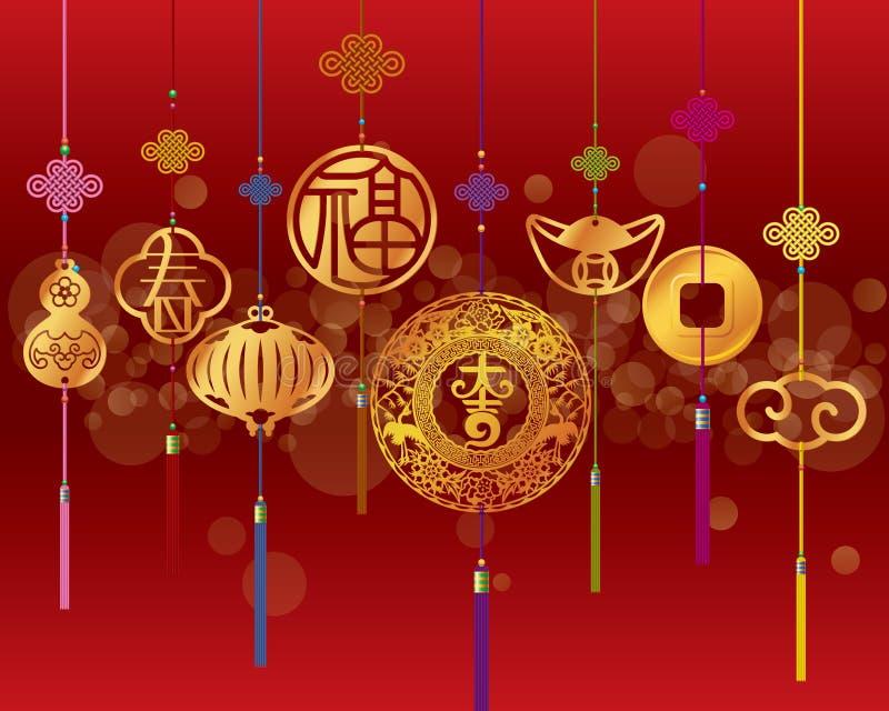 Fundo decorativo chinês do ano novo ilustração royalty free