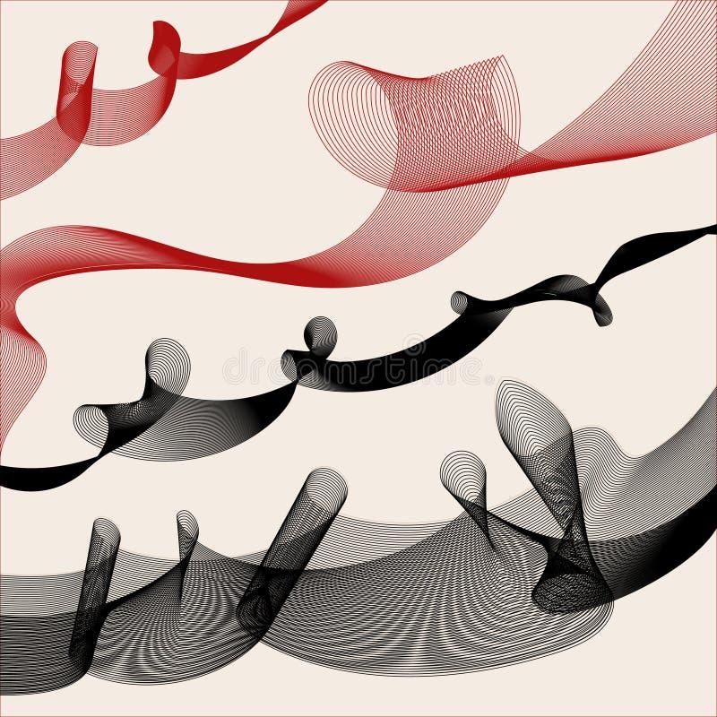 Fundo decorativo com as ondas vermelhas e pretas imagens de stock