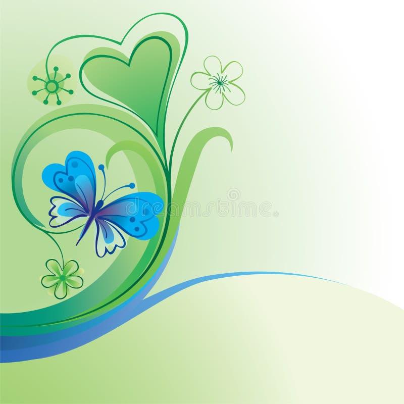Fundo decorativo com borboleta ilustração stock